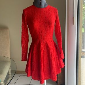 Dresses & Skirts - Red lace, high low dress with sleeves